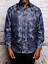 Mens Manzini Shiny Stage Performer Paisley Shirt French Cuff mzt302 Navy Formal