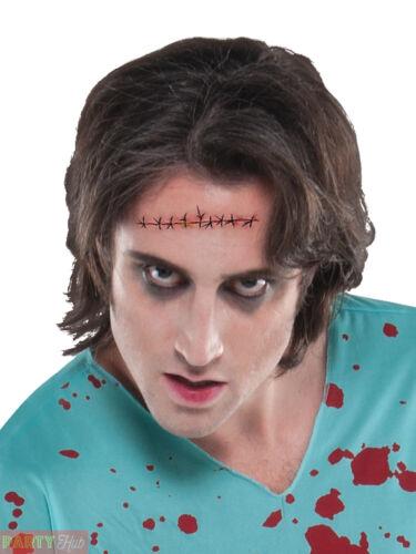 Adult Zombie White T Shirt Mens Halloween Fancy Dress Accessories Surgery Scar