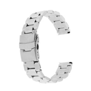 Silver-Watch-Band-18-20-22-24mm-Solid-Stainless-Steel-Fold-Over-Clasp-Strap