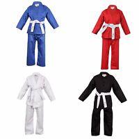 Children's Karate Suit White Black Red Blue - Free White Belt Kids Karate Suit