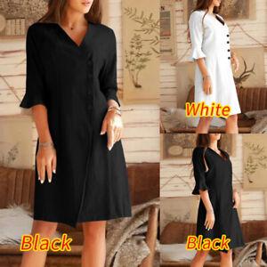 UK-Womens-Ladies-Holiday-Ruffled-Mini-Dress-V-Neck-Summer-Beach-Shirt-Dress-8-26