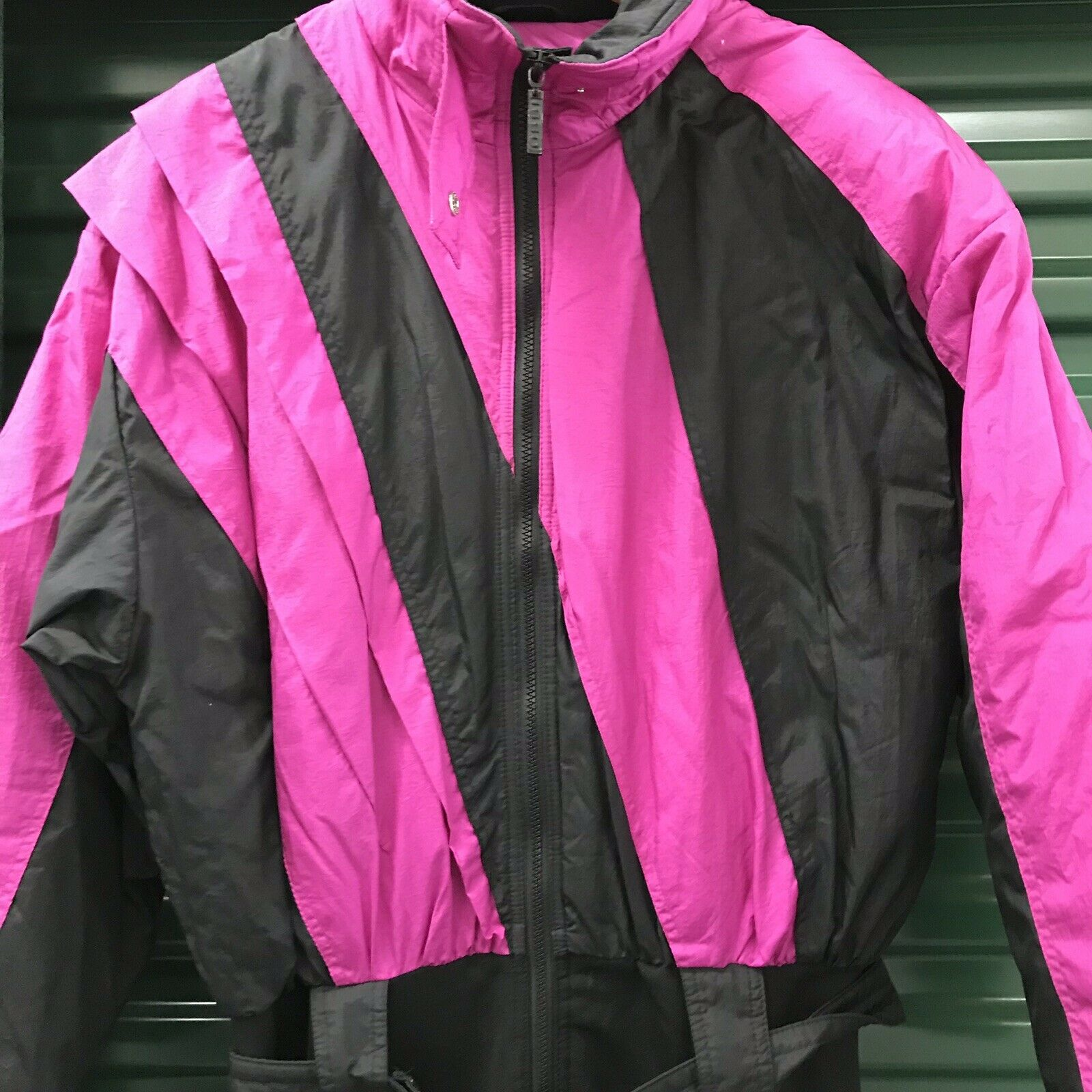 Vtg 80s 90s OSSI Womens LARGE One piece SKI SUIT Snow Bib Snowsuit 12 Purple