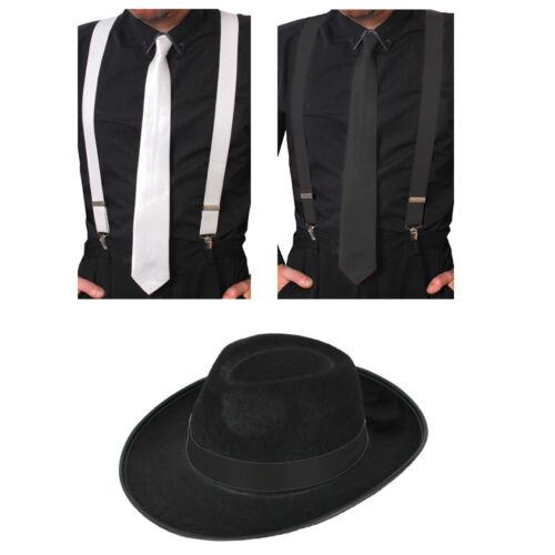 TIE /& BRACES SET 1920/'S GATSBY FANCY DRESS AL CAPONE MAFIA ADULTS GANGSTER HAT