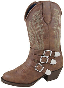 Smoky-Children-039-s-Kid-039-s-Buckle-Up-Brown-Distress-Western-Cowboy-Boot