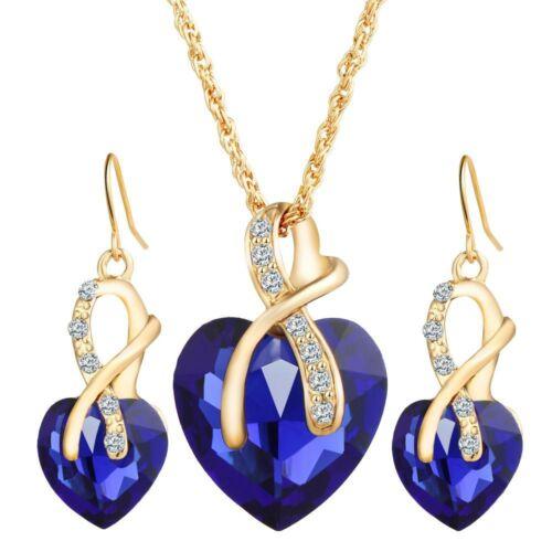 Fashion Femmes Pendentifs Collares Love Boucles D/'Oreilles Colliers Bijoux Set 4 Couleurs