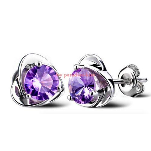 coppia orecchini da donna strass cuore viola R39