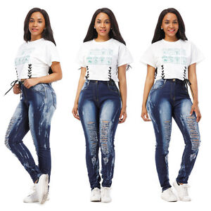 WOMENS-PLUS-SIZE-Destroy-Distressed-RIPPED-BLUE-SKINNY-DENIM-JEANS-PANTS