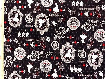 Kokka Japanese Fabric / Alice in Wonderland Fabric Black - 108cm x 50cm