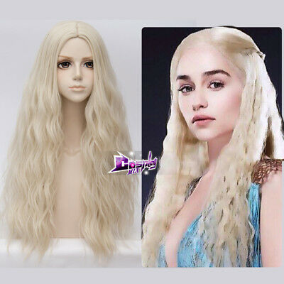 Hellblond Haar Halloween von Game of Thrones Khaleesi Cosplay Perücke+wigcap