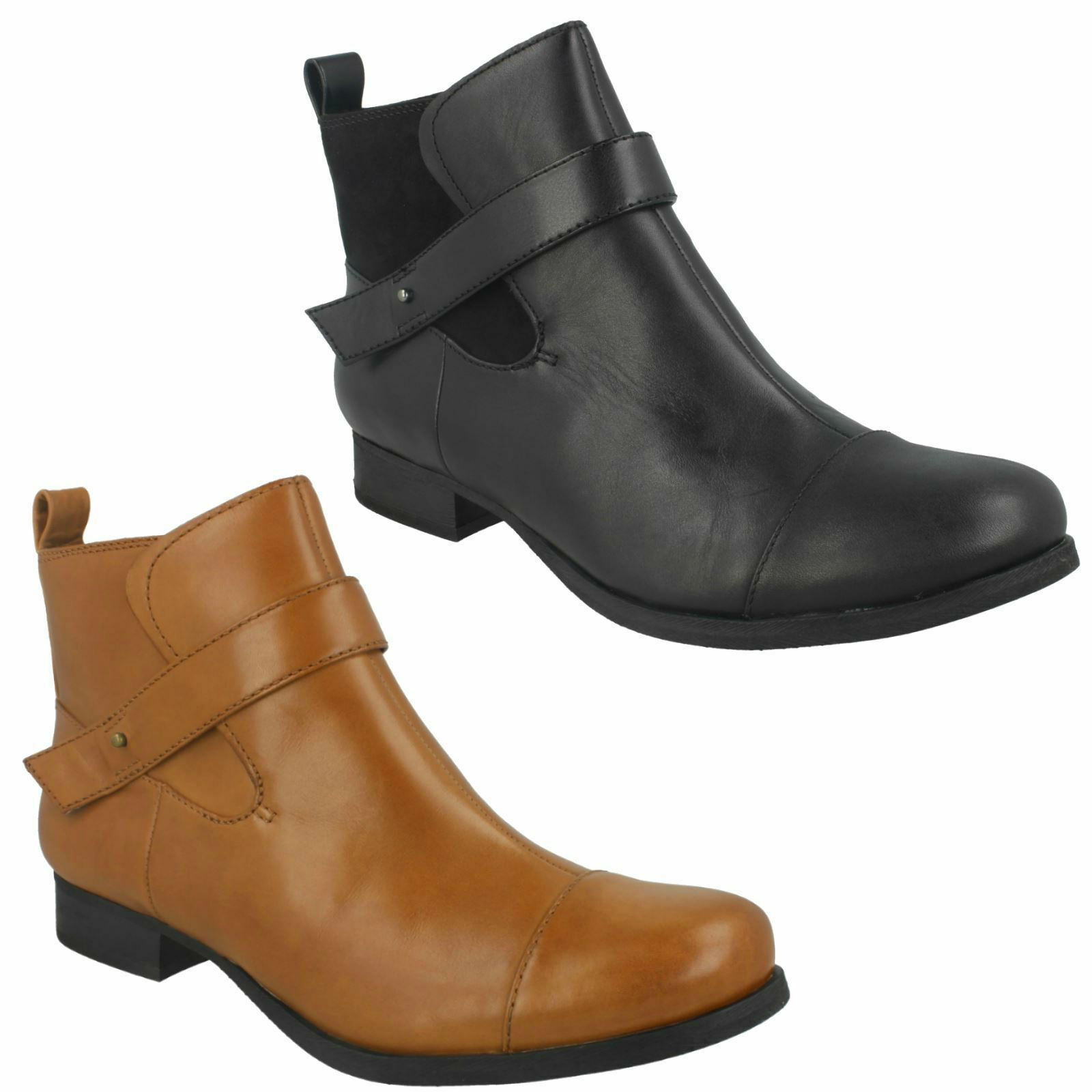 LADBROKE MAGIC LADIES CLARKS PULL ON CHELSEA LEATHER CASUAL ANKLE BOOTS SIZE