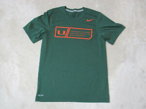 Nike-Miami-Hurricanes-Shirt-Adult-Small-Green-Orange-Football-Dri-Fit-UM-Mens