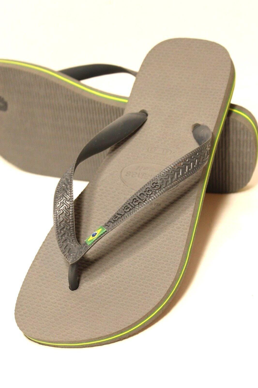 46ddd663e4b7ea HAVAIANAS Mens Size 9 US   43 43 43 EUR Brazil Sandal Steel Gray Flip Flop  Sandal 78bc88