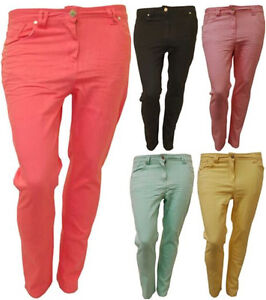 NEW LADIES PLUS SIZE SKINNY JEANS WOMENS BRIGHT SUMMER COLOR