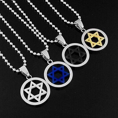 Men's Women's Lovers Shield Star of Magen David Stainless Steel Pendant Necklace