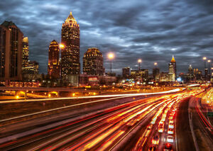ATLANTA-CITY-NIGHT-NEW-A3-CANVAS-GICLEE-ART-PRINT-POSTER-FRAMED