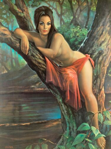 Woodland Goddess  by J H Lynch from the Tretchikoff Era Vintage Kitsch Print  A2