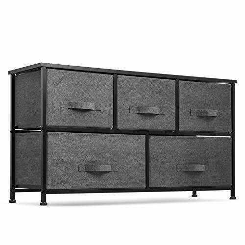 White Nursery Closet Hallway Organizer Unit for Bedroom BAHOM Wide Dresser Storage Tower with 5 Fabric Drawers