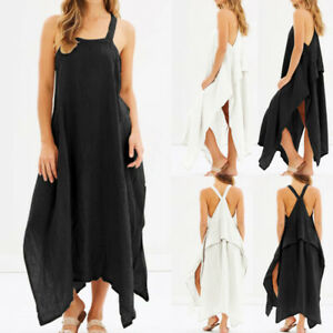 Women-Plus-Size-Strap-Flare-Swing-Long-Maxi-Sundress-Party-Club-Beach-Cami-Dress