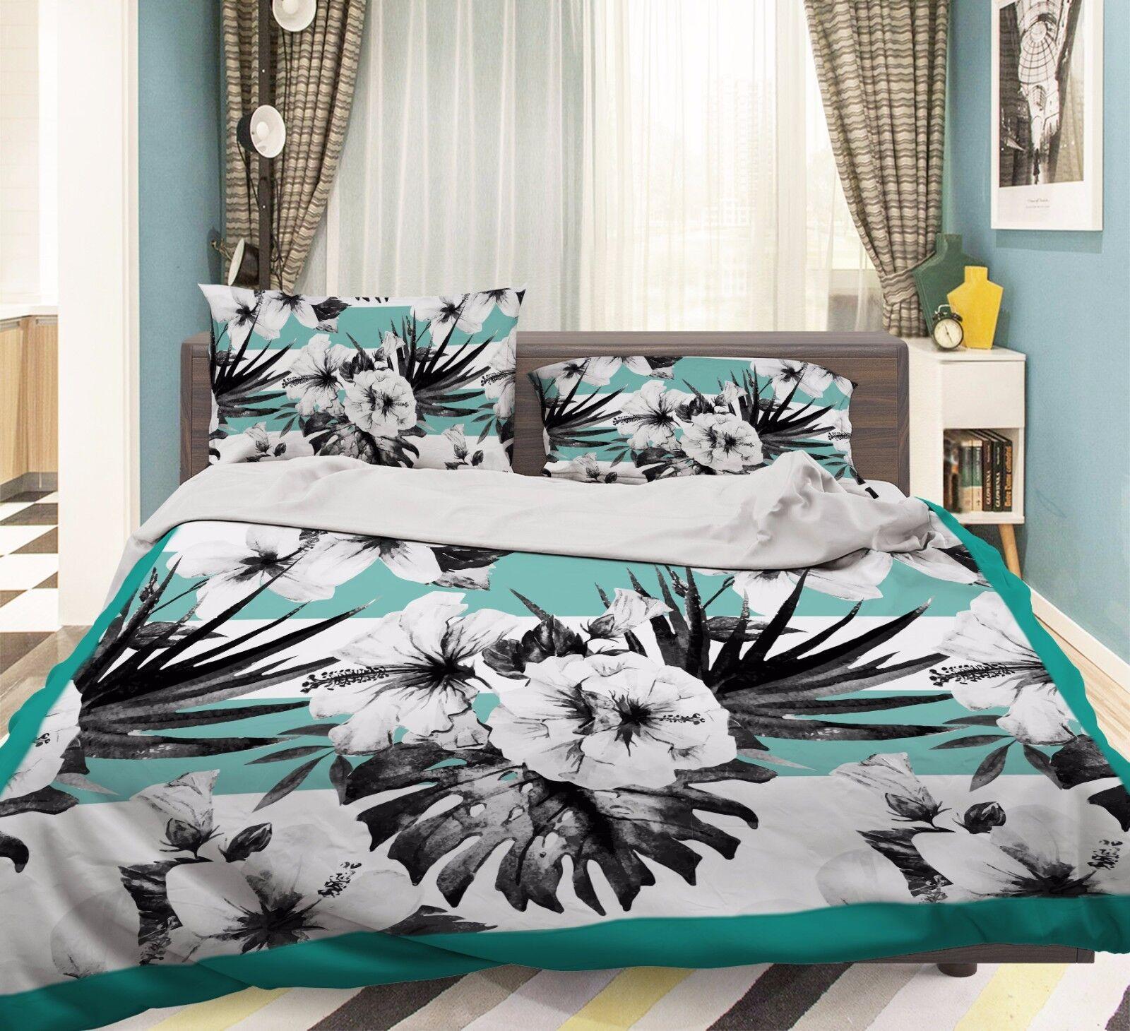 3D Petal Sketch 906 Bed Pillowcases Quilt Duvet Cover Set Single Queen UK Summer
