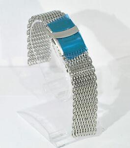 Stainless-steel-shark-mesh-watch-deployment-strap-band-bracelet-18mm-FREE-UK-P-amp-P