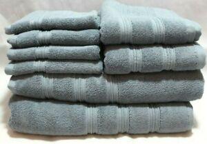 DKNY-Eight-Piece-Solid-Medium-Blue-Bathroom-Towel-Set-100-Cotton-New