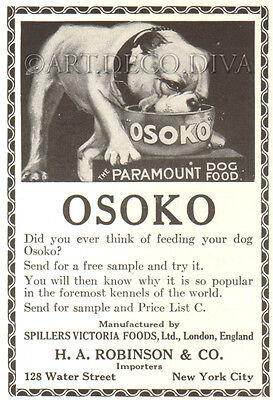 Antique 1922 Osoko Dog Food ENGLISH BULLDOG Spillers Victoria London Art Ad  | eBay