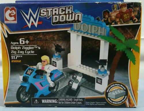 NEW DOLPH INCLUDED WWE STACK DOWN DOLPH ZIGGLER/'S ZIG ZAG CYCLE 117 PC AGES 6
