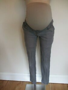 13a73fbe7860d COLLINE MATERNITY GREY OVER BUMP SLIM SKINNY LEG LINEN TROUSERS SIZE ...