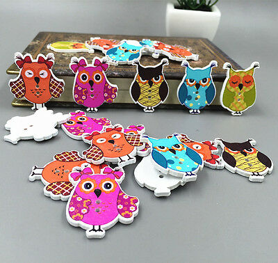 20-100PCS Owl Wooden Buttons Sewing Scrapbook Craft Merry Christmas 35mm
