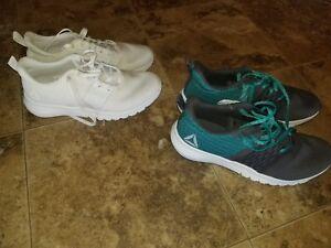 9e4d416bc6 New Womens Reebok Print Lite Rush Running Shoes Athletic White Black ...