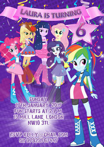 Details About 10 X My Little Pony Equestria Girls Personalised Birthday Party Invitations