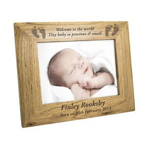 Personalised-Wooden-Photo-Frame-Baby-Feet-5x7-Newborn-Christening-Gift-Idea