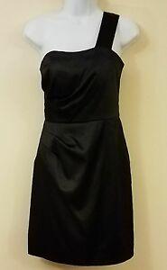 7ffd19d01cc Eliza J Dress Size 4 Black Mini A-Line Cocktail Satin One Shoulder ...