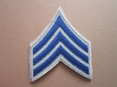 L1K Sergeant Blue Grey Silver Rank Insignia Military Woven Cloth Patch Badge