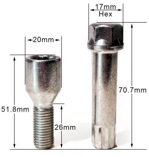 filetage 26 mm M12 x 1.5 Star clé X 16 Alloy Wheel TUNER SLIM Boulons Écrous cosses