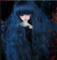 "1/3 8-9"" Dal.Pullip.BJD.SD LUTS supper dollfie blue black long wig doll hair"