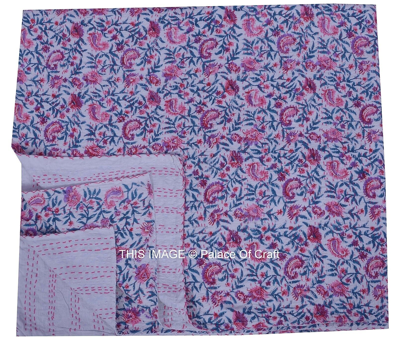 Indian Floral Queen Size Cotton Bedding Reversible Gudari Blanket Ethnic Decor