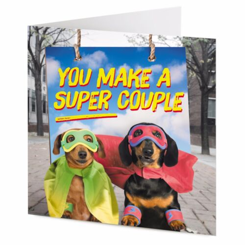 Wedding greeting card Engagement Fun Dachshund /'SUPER COUPLE/' Anniversary