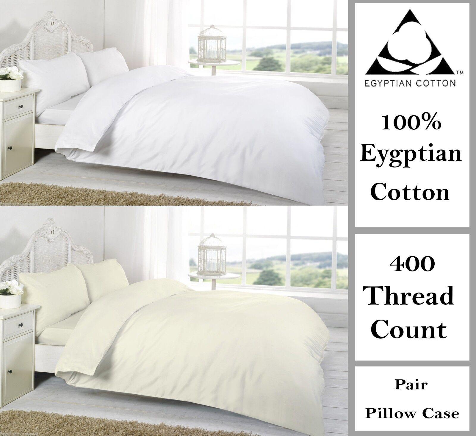 400 Thread Count Duvet Covers Set Egyptian Cotton Single Double Super King Größe