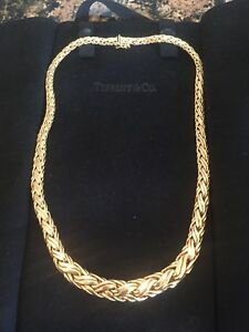 93a826f7be0 Tiffany 14K 585 Large Russian Weave Braided Chain Link Necklace 31+ ...