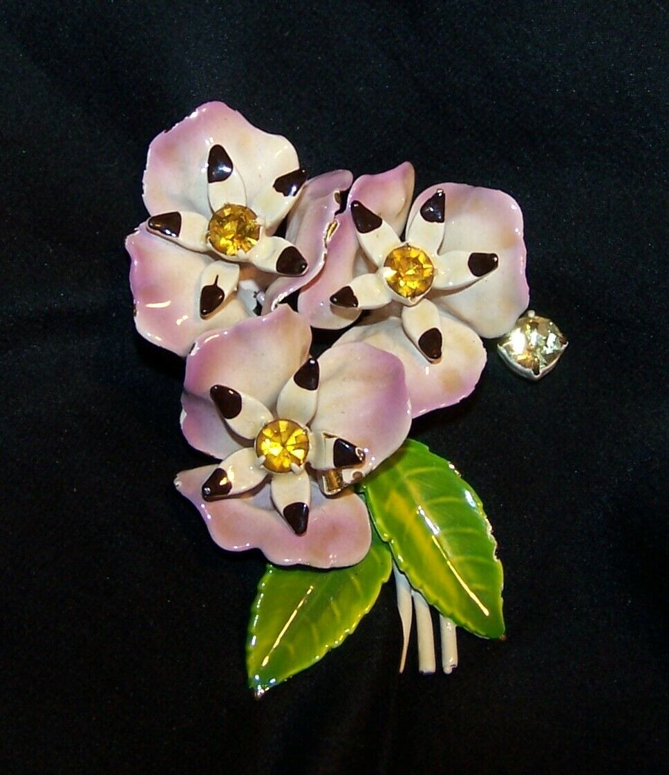 Vintage Enamel Rhinestone Flower Pin/Brooch-Pansy… - image 1