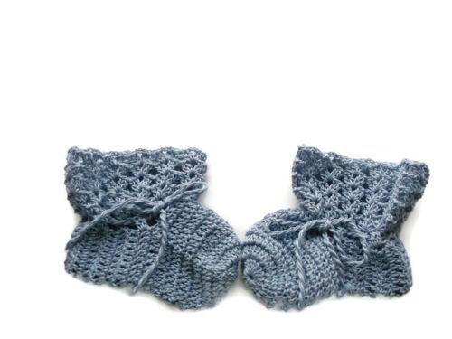 Baby Booties Baby Shoes Crochet Booties Newborn Shoes 4  Blue OOAK