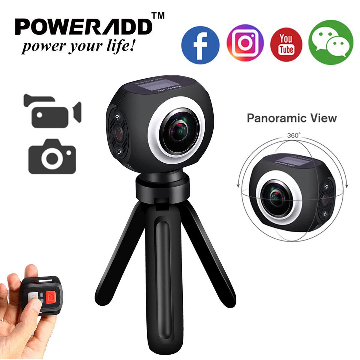 Poweradd 1080P 360° Panoramic Digital WiFi HD Video Sports DVR VR Action Camera 1080p action camera digital dvr panoramic poweradd sports video wifi