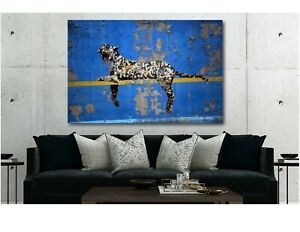 Banksy-Bronx-Zoo-Leopard-Modern-Wall-Art-Canvas-Print-Various-Sizes