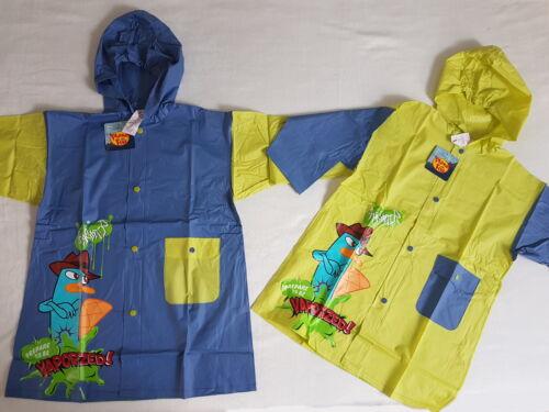 Witzige Regenjacke PHINEAS /& FERB Regenmantel blau grün NEU Mädchen Jungen