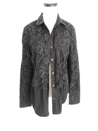 Robert Rodriguez Black Lace Button Down Shirt Size