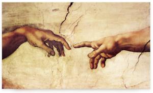 Leinwand-auf-Keilrahmen-DIE-ERSCHAFFUNG-ADAMS-Michelangelo-Creation-Haende-Bild