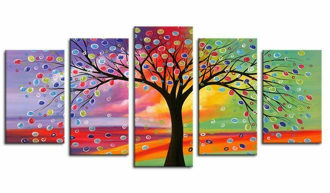 Framed Farbeful Tree Abstract Five Piece Canvas Multi Panel Home Decor Art