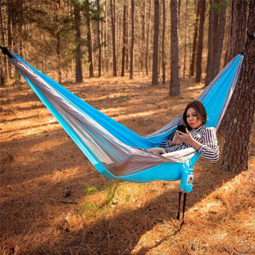 Two Person Camping Hammock Nylon Portable Outdoor Travel Hanging Sleeping Bed