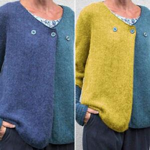 Mode-Femme-Pull-Chadails-Manche-Longue-Couture-en-Couleur-Col-Rond-Loose-Plus